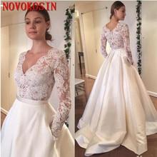 Cheap 2019 New Long Sleeve Lace Applique Wedding Dresses Vintage A Line Bridal Gowns Plus Size V-Neck Satin Dress