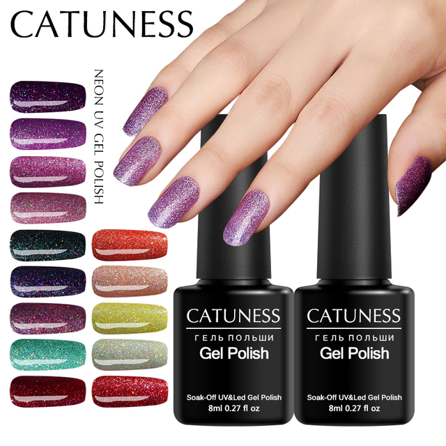 CATUNESS Neon Glitter Gel Nail Polish Soak Off Gel Lucky Colorful Gel Polish Varnish Semi Permanent Lacquer Base and Top Coat