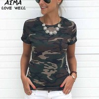 Europe America Sexy Women T Shirt Loose Cotton Ladies Fashion O Neck Camouflage Print Casual T