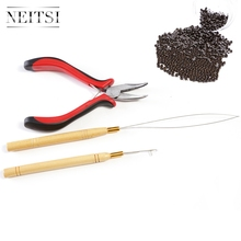 Neitsi 500pcs Nano Rings With Remove Plier Pulling Needle Loop Threader for Links Hair Extensions