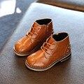 Niños Botas de Moda Con cordones de la Cremallera Del Remache Botas de Nieve Caliente Martin Para Muchachas de Los Muchachos Del Estilo de Inglaterra Niños Otoño Invierno Zapatos calientes