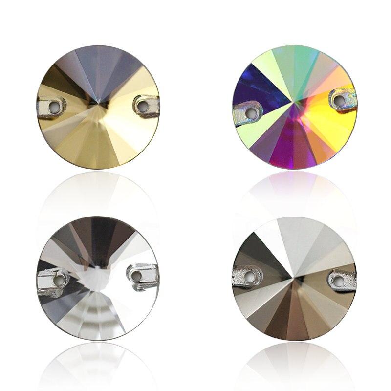 AAAAA quality 8-16mm Rivoli round shape crystal sew-on rhinestones for bags,garment,shoes,Wedding dress decoration,4 colors