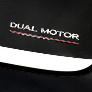 Image 3 - Per Tesla Modello 3 Doppio Motore Decalcomanie 3D ABS Auto Posteriore Tronco Emblema Adesivo Distintivo
