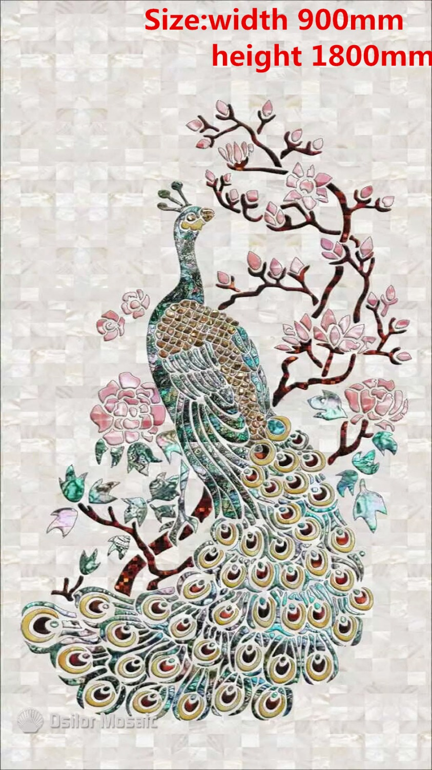 Customized Handmade Mosaic Art Mother Of Pearl Mosaic Tile Art Murals For Interior House Decoration Peacock Pattern