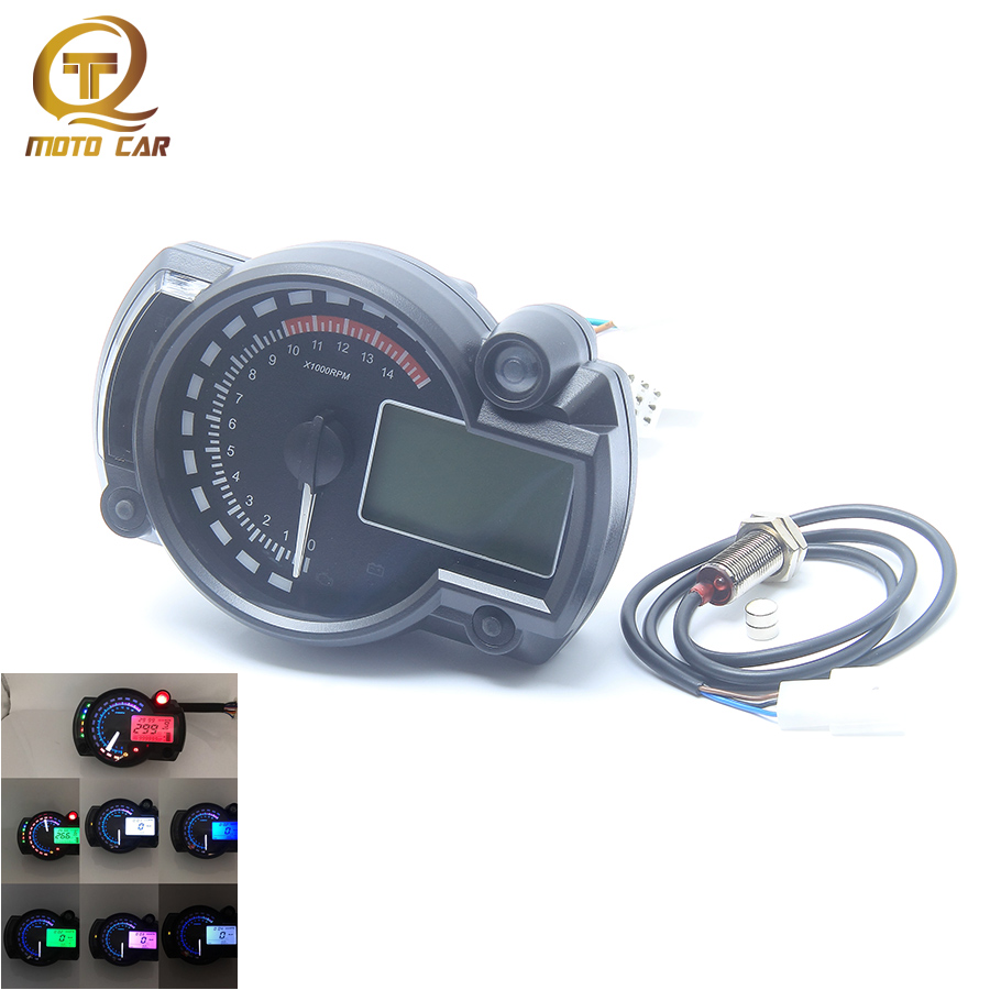 Universal Digital Motorcycle Speedometer Odometer Adjustable Tachometer DC 12V Speed 7 Color LCD Screen Backlight MAX 299 KM/H