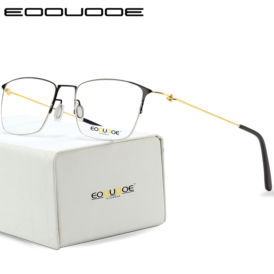 Titanium Glasses Frame Men Semi Rimless Prescription Eyeglasses Women Myopia Optical Frames Ultralight Korean Screwless Eyewear