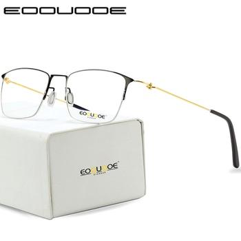 8e87de92f6 De titanio gafas hombres Semi montura anteojos recetados mujeres miopía  marcos ópticos ultraligero coreano sin tornillos gafas