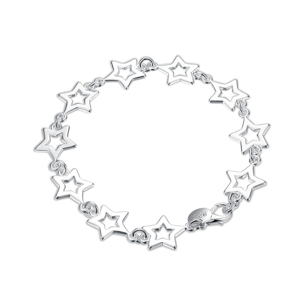 Wholesale fashion jewelry, 925 sterling silver ten star bracelet foreign trade star silver jewelry ROLO bracelet H183