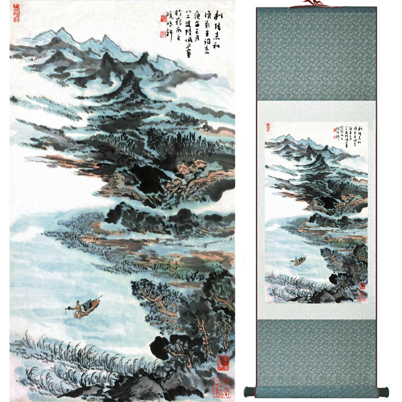 landscape painting Home Office Decoration Chinese scroll painting mountain and River paintingPrinted painting060509