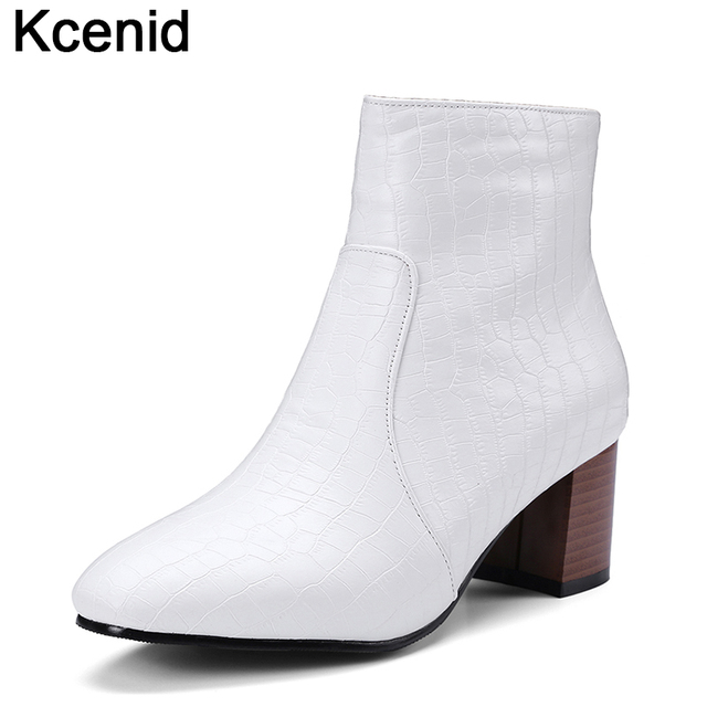 3bb31a98c78 Kcenid White black stone pattern leather chelsea boots women square heels  winter shoes woman ankle boots zipper plus size 32-48