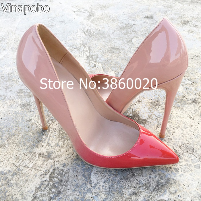 Vinapobo Top Quality pink Nude Gradient Color 12 10 8CM Women Pumps Pointed Toe High Heels