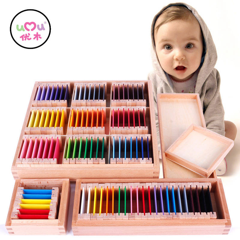 Montessori Sensorial Rainbow Color Tablets Preschool Wooden Montessori Materials Educational Toys For Children UC0664H