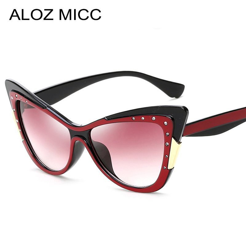 ALOZ MICC Dame Petit Cat Eye lunettes de Soleil Femmes De Luxe Brillant Strass Lunettes de Soleil Marque Lunettes Designer Femme Shades Q410