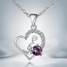 Declaración collar esterlina de plata-joyería 925-sterling-silver maxi collier joyería collares colar bijoux mujeres Crystal amor 1