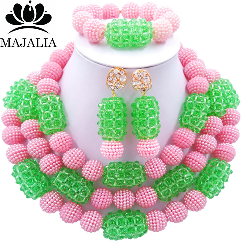 Majalia Fashion Charming Nigerian Wedding African Jewelry Set Pink and  Light green Crystal Necklace Bride Jewelry Sets 3SZ079Majalia Fashion Charming Nigerian Wedding African Jewelry Set Pink and  Light green Crystal Necklace Bride Jewelry Sets 3SZ079