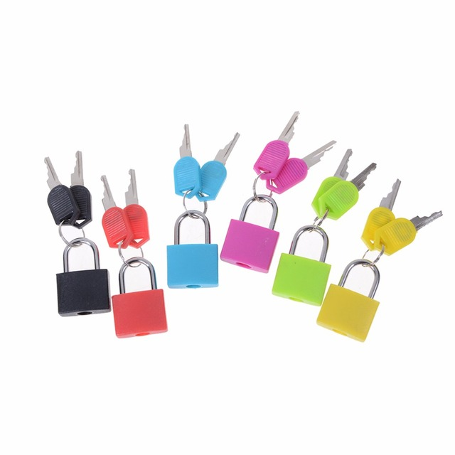 Novo 6 cores Pequeno Mini Forte de Aço Pequena Mala de Viagem Cadeado Fechadura com 2 Chaves