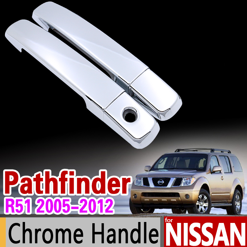 for Nissan Pathfinder R51 2005 - 2012 Chrome Handle Cover Trim Set 2006 2007 2008 2009 2010 2011 Accessories Sticker Car Styling for nissan qashqai 2008 2009 2010 2011 2012 2013 car inner decoration trim