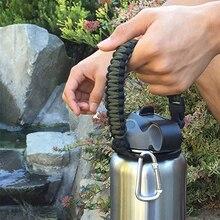 Paracord ручка для переноски ремень аксессуары Подходит широкий рот Плетеный 7 Core Пешие прогулки путешествия бутылка для воды подстаканник для гидро колба