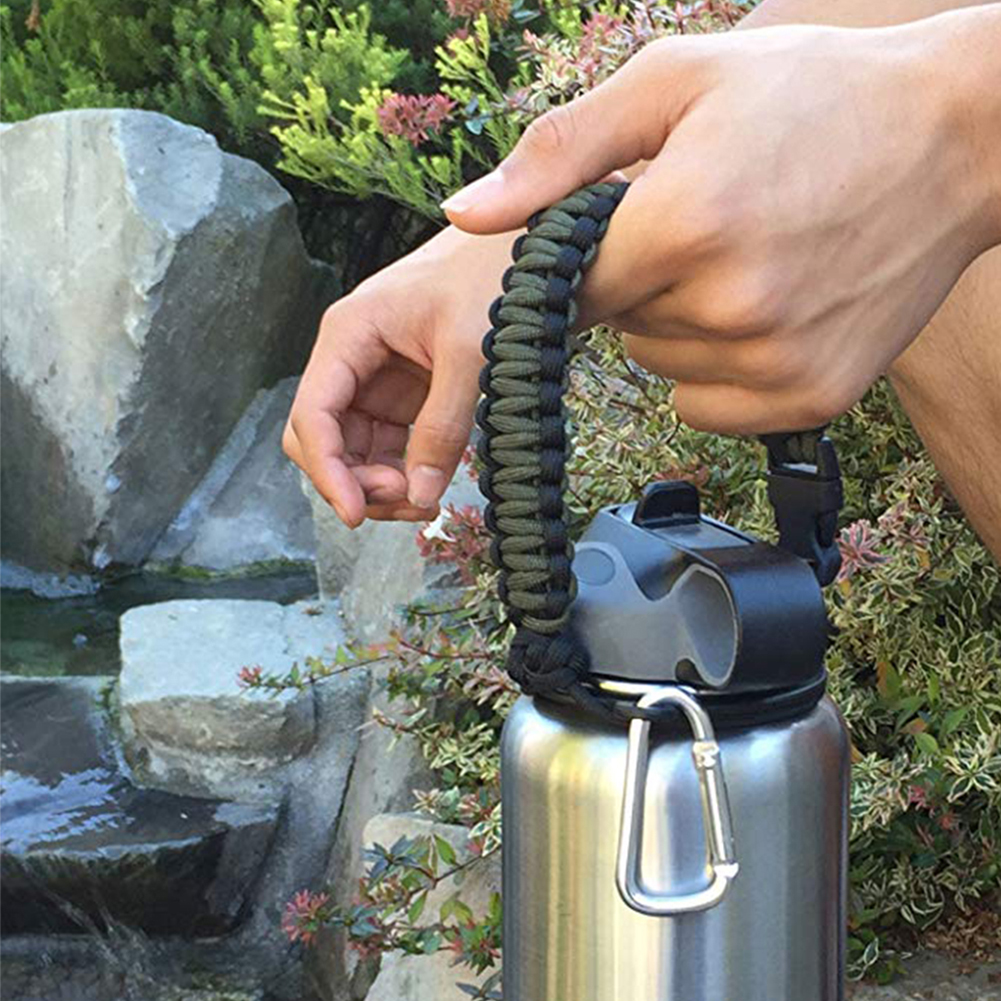 Paracord Carrying Handle Strap Accessories Fits Wide Mouth Braided 7 Core Hiking Travel Water Bottle Cup Holder For Hydro Flask