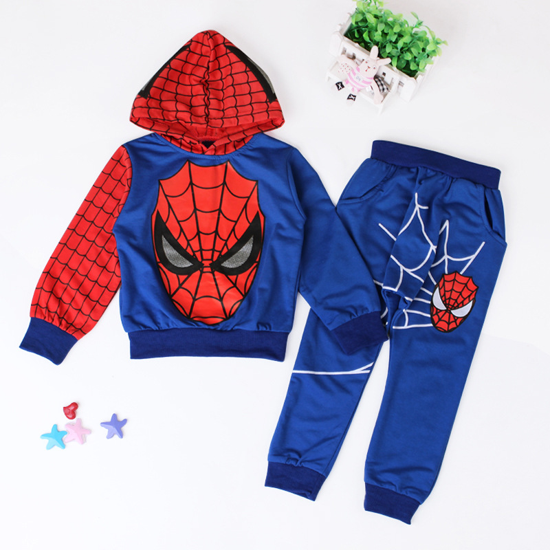 Baby Boy Spider-Man Cartoon Clothes Long Sleeve Sweater Hoodie+Pants Kids Outfit