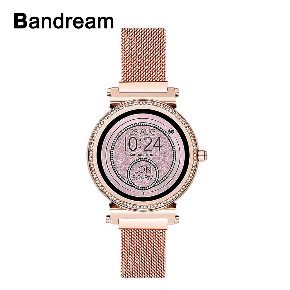 Milanese Loop Stainless Steel Watchband For Michael Kors Access Sofie TicWatch C2 Rose Gold Watch Band Women Strap Magnetic Belt