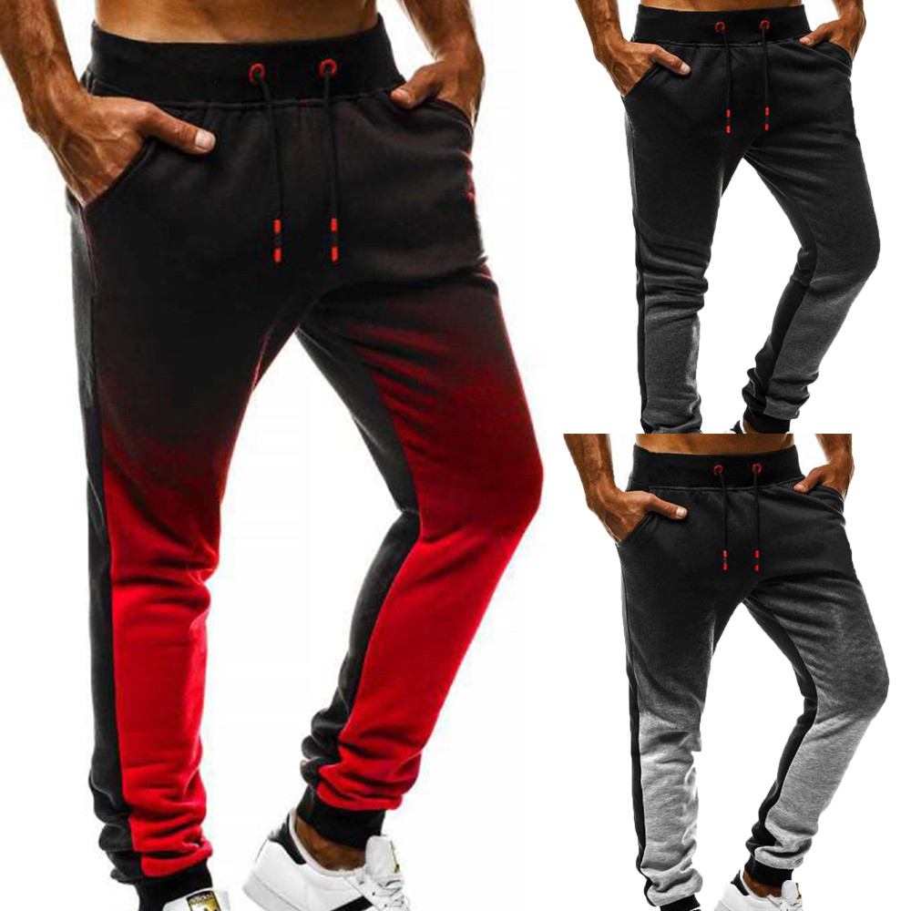 2019 Mens Casual Sports Pants Gradient Sports Fashion Sport Jogging Fitness Pant Casual Loose Sweatpants Drawstring PantZ401