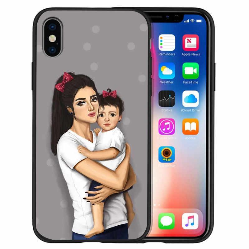 ทารก Mom Queen mickey สำหรับ iPhone X XR XS Max 5 5 S SE 6 6 S 7 8 plus ฝาครอบโทรศัพท์ Funda Coque Etui capa ผู้หญิง