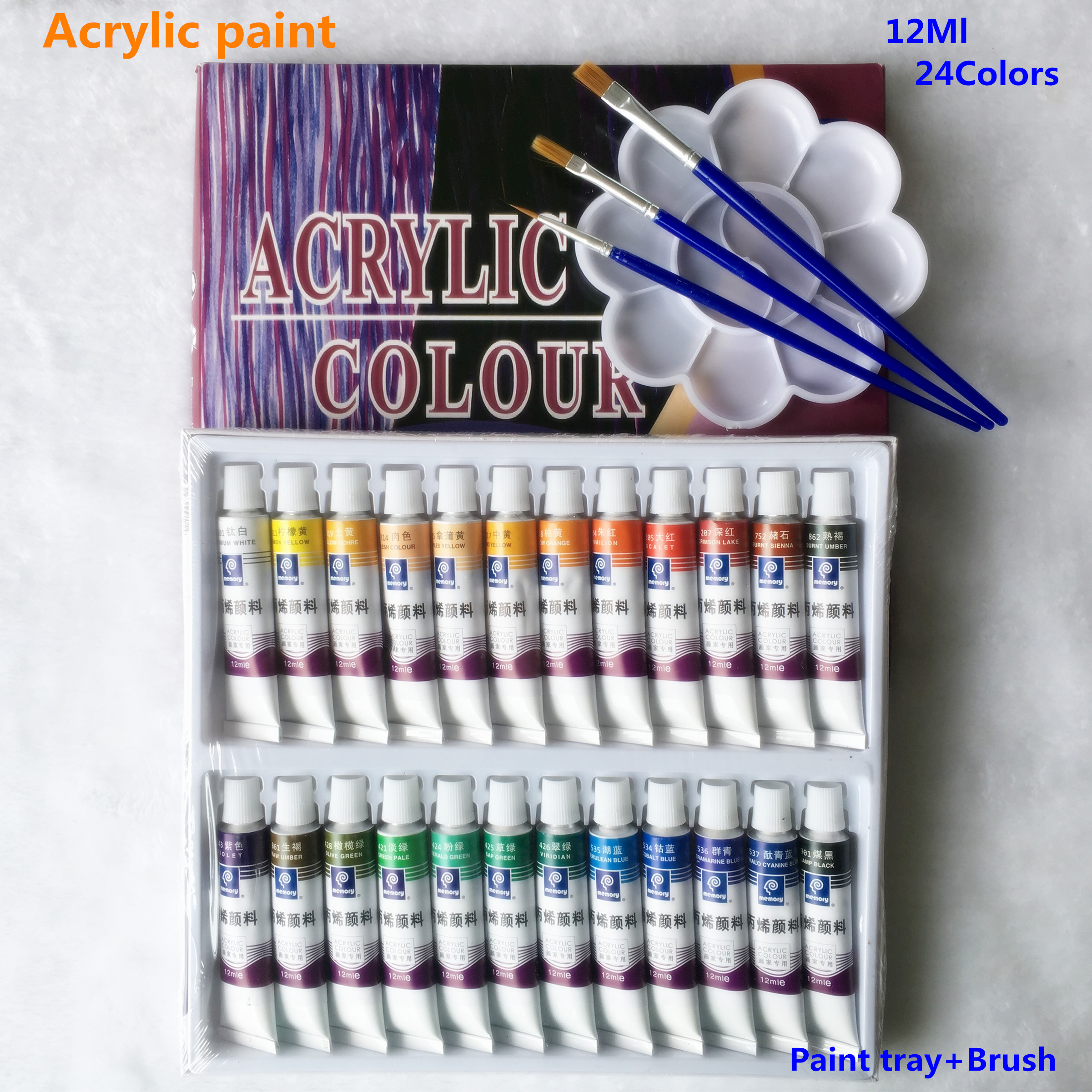 24pcs/set  Paint Acrylic Paint Tube Set Nail Art Painting Drawing Tool For Artist Kids DIY Design  Free For Brush And Paint Tray 24 colors 12ml acrylic paint set color nail glass art painting paint for fabric drawing tools