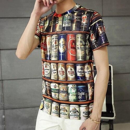 Men Summer Fashion Hip-Hop Bottles Pattern Print Short Sleeve Tee Casual T-Shirt