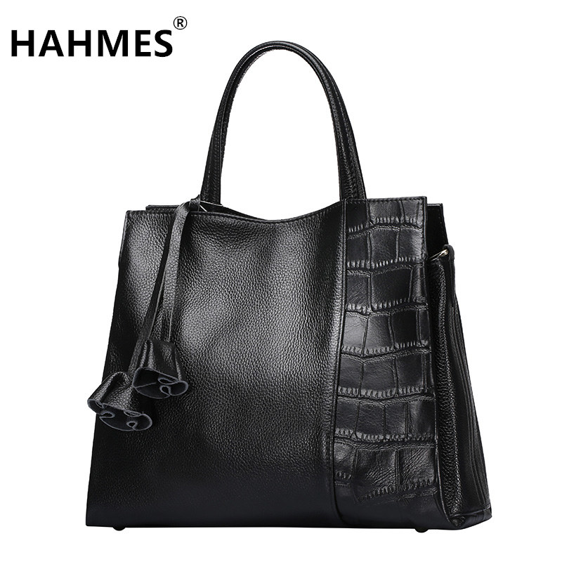 HAHMES 100% Genuine Leather Women's Bag Fashion handbag quality Crocodile pattern design cow leather shoulder bag 33cm 10714# hahmes 100