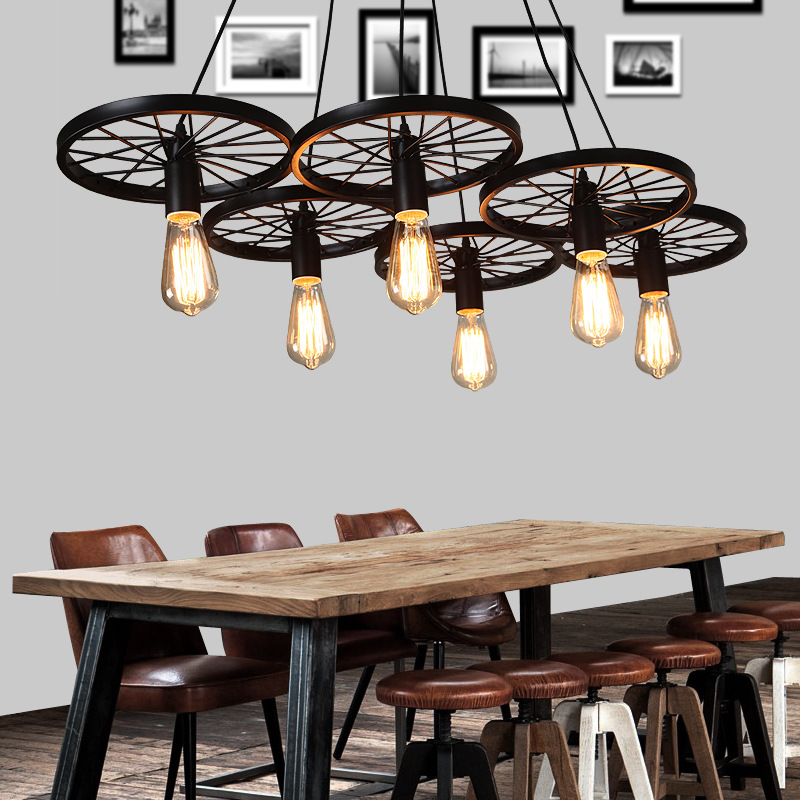 Wrought Iron Pendant Lights Vintage Industrial Lighting Ancient Loft hanging Wheel Lamp Bar Living Room 1/3/6 Wheel Design Lamp burberry burberry тени для век кремовые eye colour cream 106 pink heather