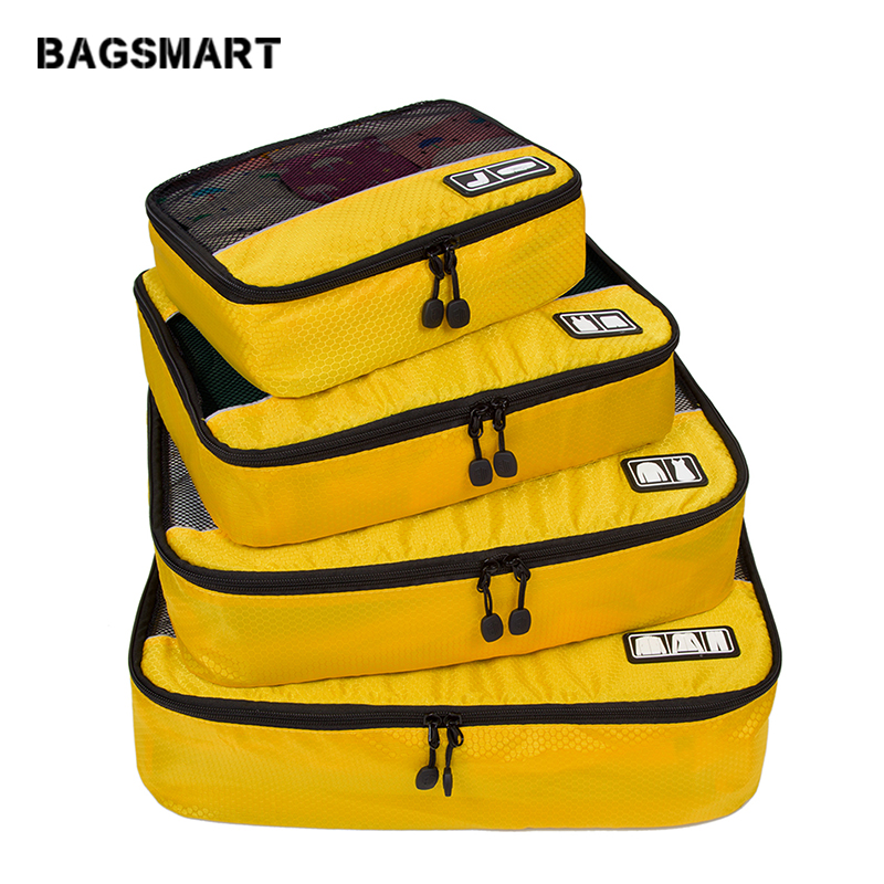 BAGSMART 4 Pcs Waterproof Nylon Packing Cubes Luggage Packing Organizer To Travel For Shirts Pants Make Your Suitcasse Ordering