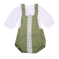 2Pcs Baby Girls Summer Fashion Sets Army Green Brief Romper+White Half Sleeve T-shirt Kids 2PCS Outfits