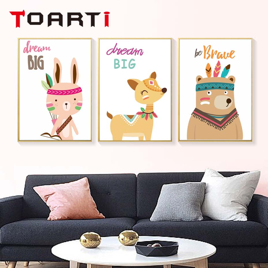 Nordic Poster Tribe Woodland Animal Bear Fox Wall Art Canvas Nursery Prints Cartoon Painting Picture Baby Rooms Home Decoration