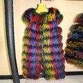 Women Fur Vest Fashion Sleeveless Vest Modern Lady's Coat Multicolor Racoon Dog Real Genuine 87 cm Length Female RA13020-2