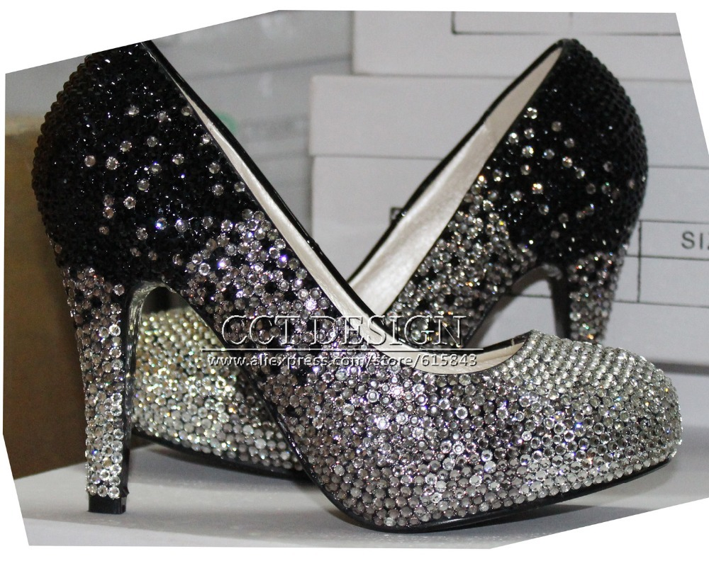 Pink Wedding Shoes Low Heel: NEW ARRIVAL SEXY LADY PINK AND BLACK RHINESTONE HIGH HEELS