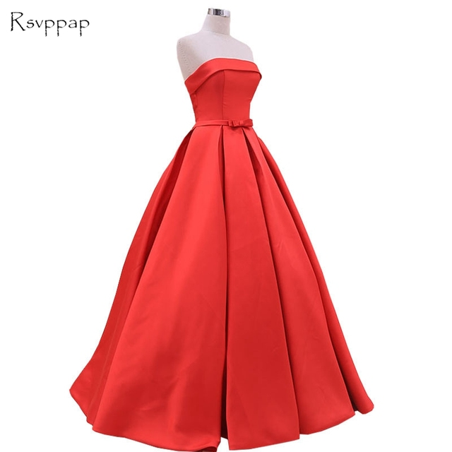 Long Evening Dress 2018 Puffy Ball Gown Boat Neck Sleeveless Simple ...