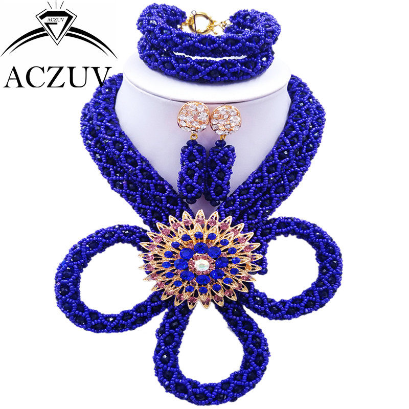 ACZUV Nigerian Wedding Necklace Crystal Royal Blue Beads African Jewelry Set BZK005