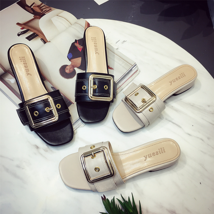 Buckle female slippers summer all-match 2017 casual thick heel side buckle drag all summer long