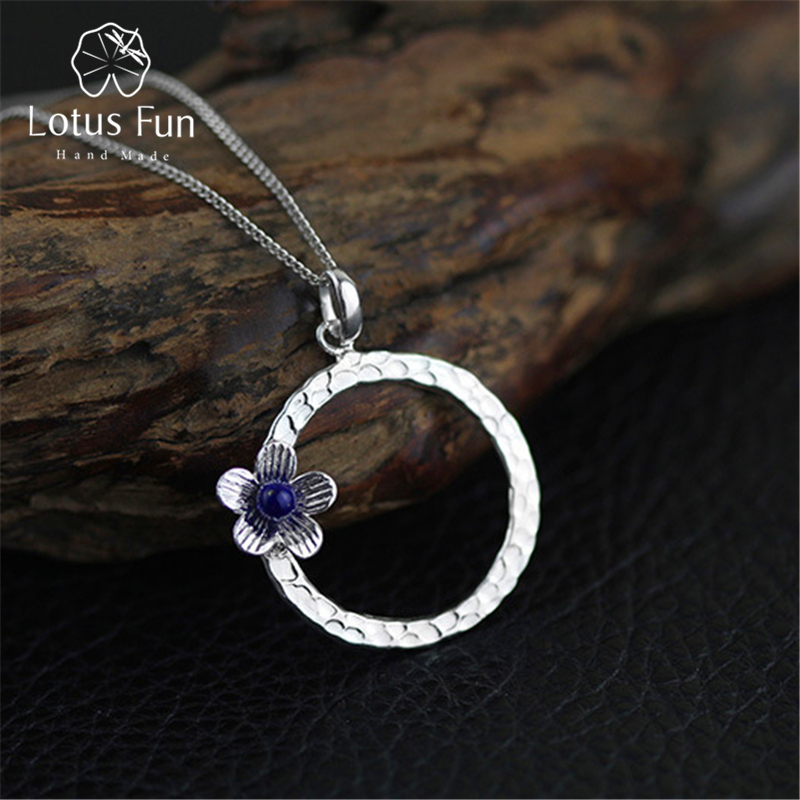 Real 925 Sterling Silver Lapis Handmade Fine Jewelry Fresh Flower Design Pendant without Necklace Acessorios for Women