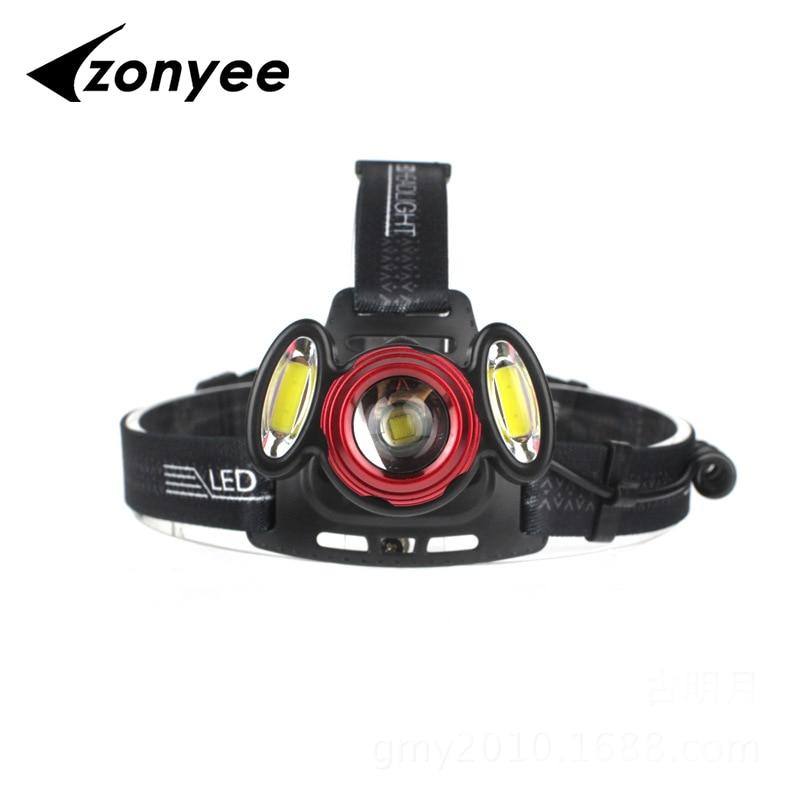 Zonyee Headlamp Light Zoom Waterproof Headlamp Headlight T6+2*COB Head Light Lamp Hunting Flashlight Torch+18650 battery+charger vasos sanitários coloridos