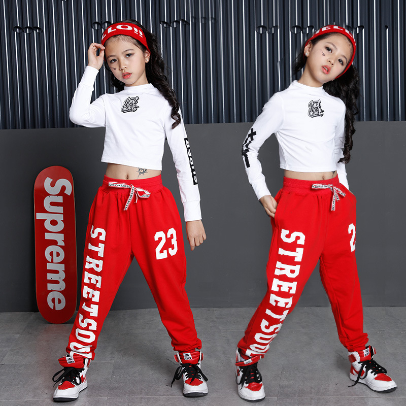 Spring Autumn Ladies Units Clothes White Black Cotton Lengthy Sleeve Cropped T Shirts And Pants Set Children Hip Hop Costumes For Ladies shirt and pants, women set, set children,Low...