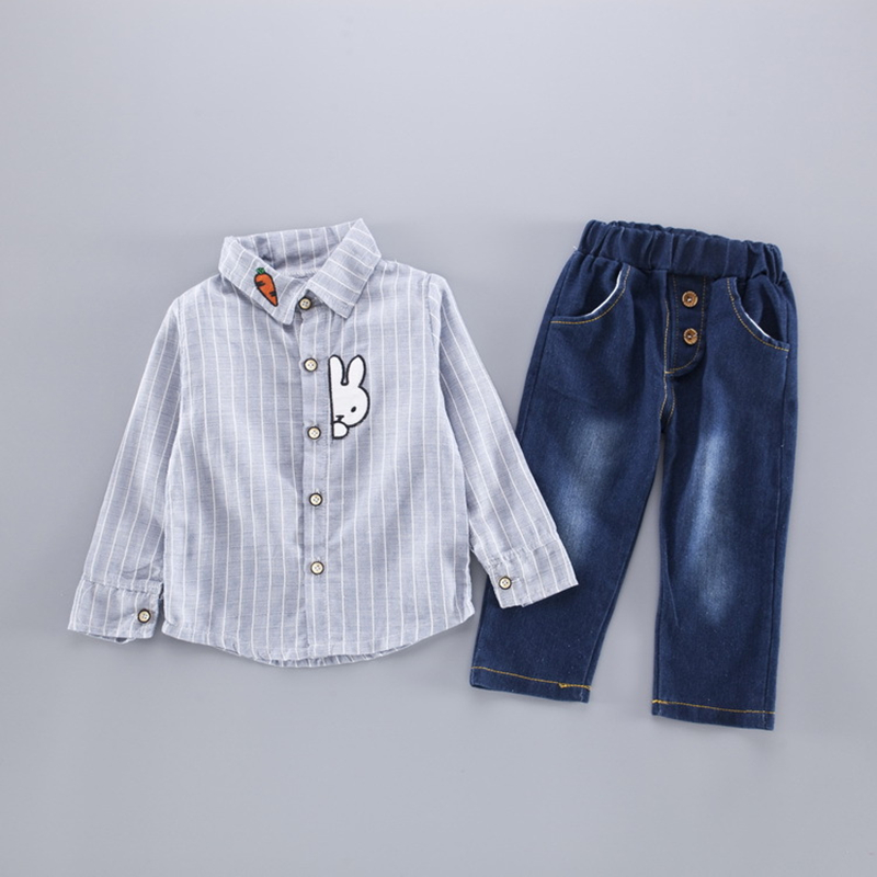 2017 Baby Clothing Set Casual Boys Striped Long Sleeved T-Shirt+Jeans Kids Suits Autumn Infant Character Costume Kids Clothes 2016 new children s clothing boys long sleeved t shirt large child bottoming shirt spring striped shirt tide
