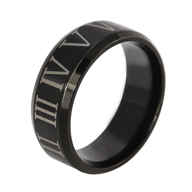 Roman vintage numerals black ring stainless steel  for men ring punk rock jewelry