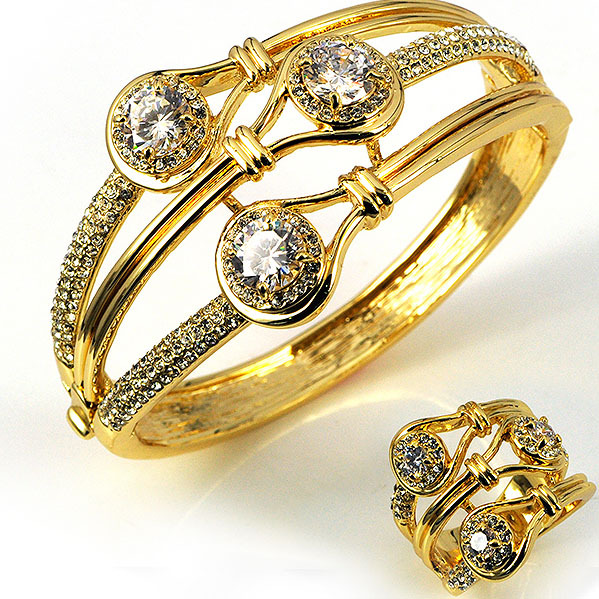 Brand Women Wedding Jewelry Sets Elegant Gold Bangle Ring Sets