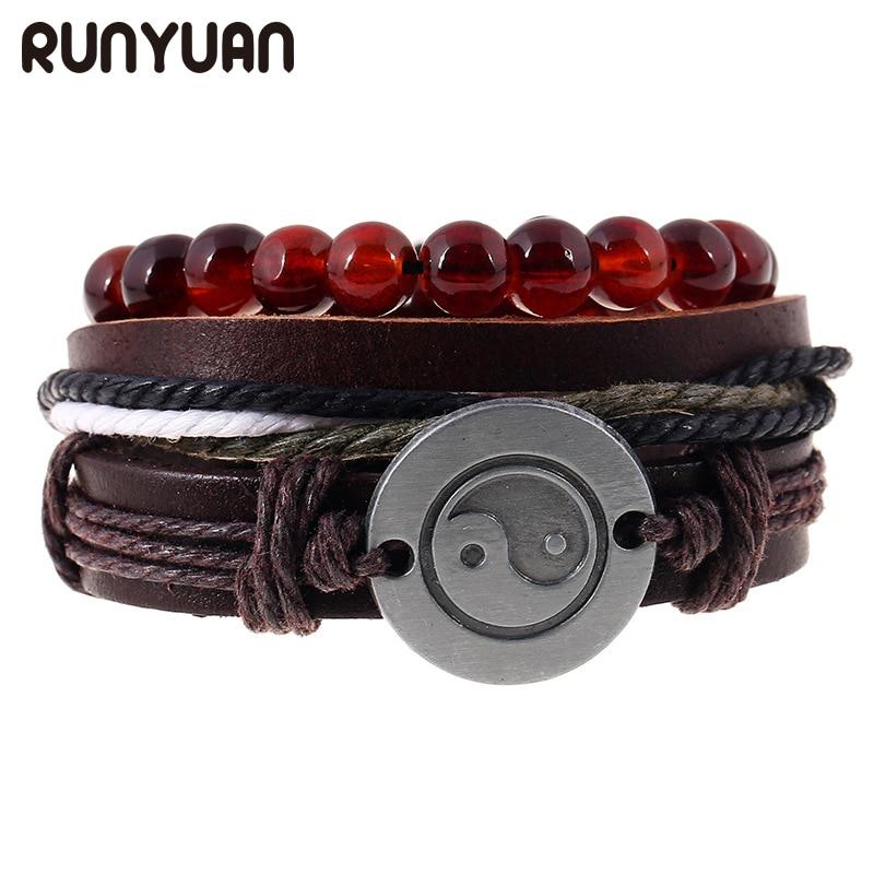 RUNYUAN 3pcs/Set Vintage Ethnic Taiji Charms Bracelets Hand Braided Hemp Leather Braslet Multilayer Wristband Cuff Men Jewelry