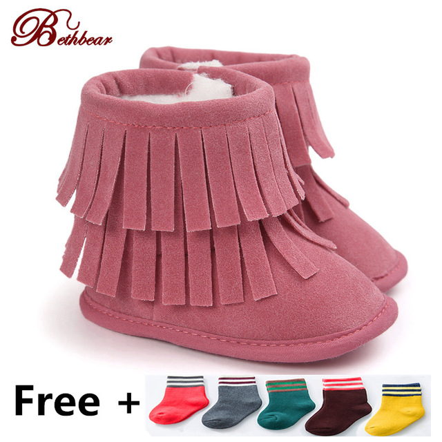 Hot Sale New Winter Baby Shoes First Walkers For Girls Baby Girl Shoes Plus Line Warm Baby Snow Boots Outdoor Tassels Crib Shoes