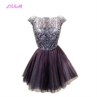 Crystals Short Tulle Homecoming Dresses Scoop Cap Sleeves Mini vestido formatura festa A Line Empire Beadings Prom Party Dresses