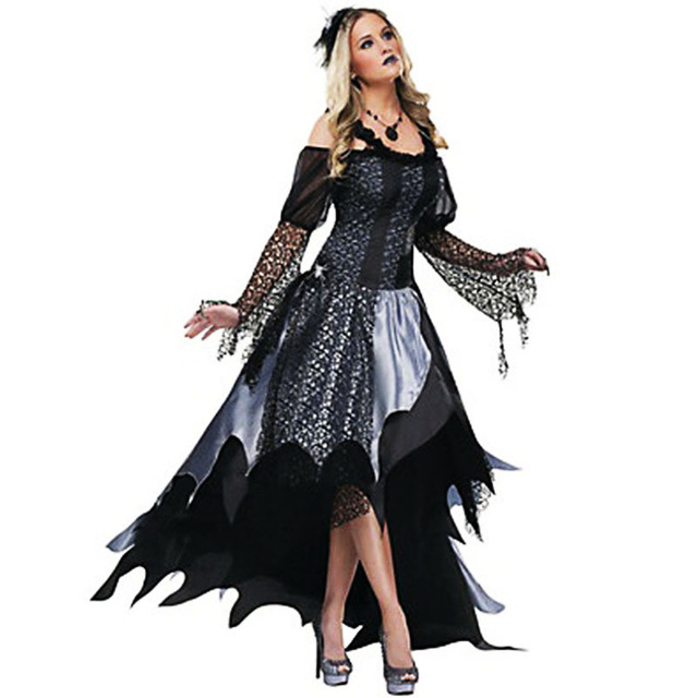 Awesome Luxurious Halloween Sexy Female Vampire Costume For Women Scary Ghost Bride  Cosplay Dress Zombie Queen Day Of The Dead Costumes