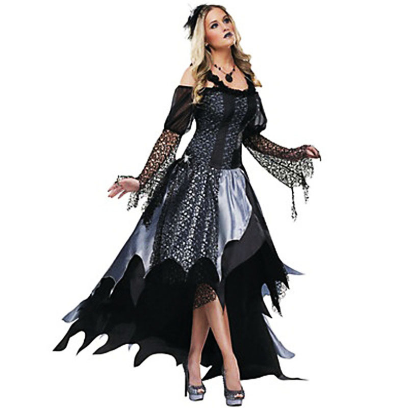 luxurious Halloween Sexy Female Vampire Costume for women Scary Ghost bride Cosplay Dress Zombie queen Day of the Dead Costumes